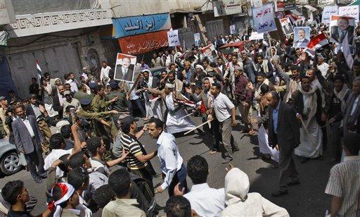 YemenAntiGovernmentDemonstratorsVsPolice